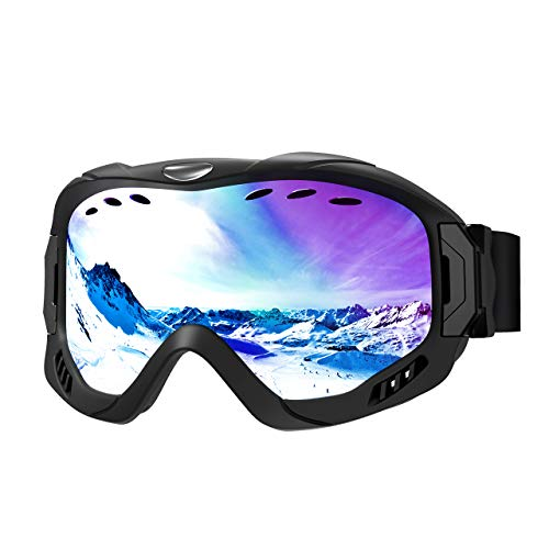 Skiing Eyewear Temperate Ski Goggles Anti-fog Uv400 Protection Mirrored Lens Snowboard Snow Goggles For Men Women Youth For Skating Snowmobile Skiing & Snowboarding