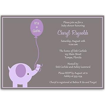 Amazon elephant baby shower invitations girls purple elephant baby shower invitations girls purple lavender gray balloon its filmwisefo