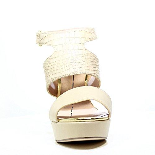 Gaudì Sandale talon haut avec cuir Serpent Beige Réf. V63-64615P New et Hot Spring Summer 2016 V63 64615P