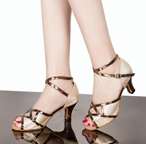 CRC Womens Stylish Peep Toe PU/Glitter Material Ballroom Morden Salsa Latin Tango Party Wedding Professional Dance Sandals Bronze cgYKgQyrOX