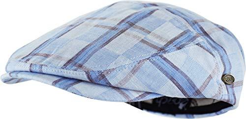 (Men's Thick Cotton Summer Newsboy Cap SnapBrim Ivy Driving Stylish Hat (Blue Plaid-4022, S/M))