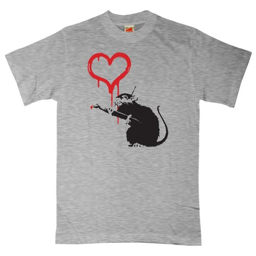 Mens Banksy T Shirt - Love Rat - Ash grey - (Love Ash Grey T-shirt)