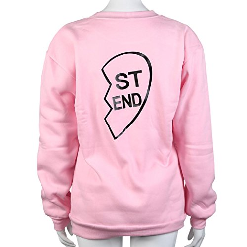 HARRYSTORE Mujeres BE FRI / ST END Camiseta de manga larga de manga larga con capucha Top Blusa Sisters Shirt Rosado-1