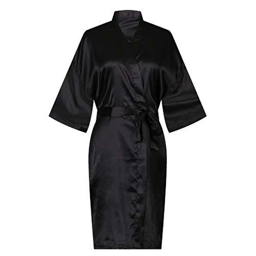 ellenwell Women's Satin Kimono Robe, Solid Color, Short(Medium,Black) - Black Dressing Gown