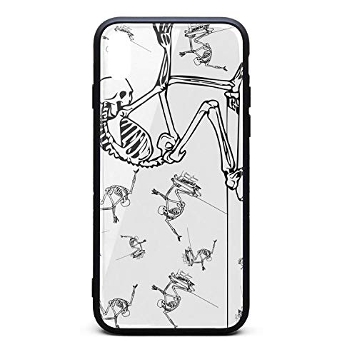 Yiastia_Minyi iPhone Xs Case, iPhone X Case Skull Skate Skateboard 9H Tempered Glass Back Cover and TPU Rubber Frame Phone Cover Compatible for iPhone X/iPhone Xs