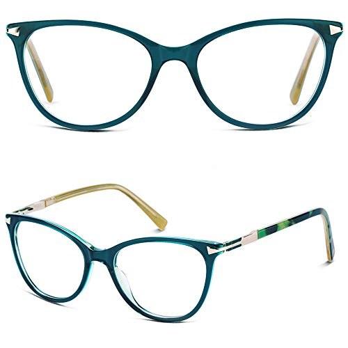 Designer Prescription Eyeglasses - Cat Eye Glasses Frames for Women, Non Prescription Clear Lenes Eyeglass Frames, Designer Handmade Stylish Green Glasses Frames