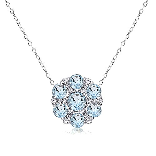 (GemStar USA Sterling Silver Blue Topaz and White Topaz Flower Round Pendant Necklace)