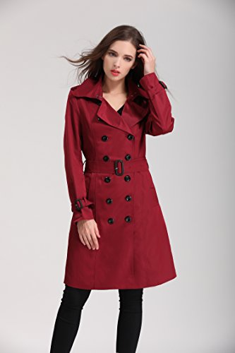 EORISH Women British Double Breasted Slim Long Trench Coat Windbreaker, Wine Red, Asian M/ US 2 -