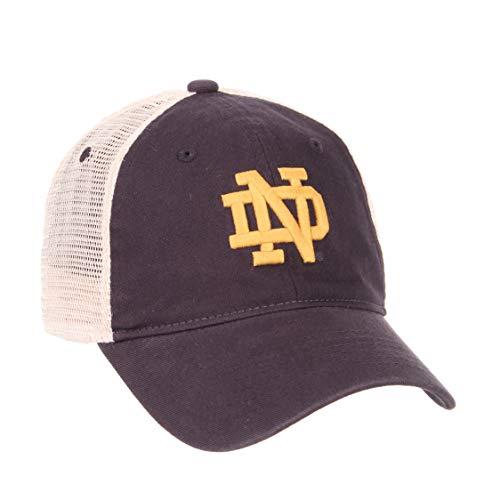 Zephyr NCAA Relaxed Fit Vintage- University- Adjustable Trucker Hat Cap-Notre Dame Fighting -
