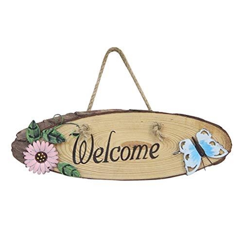 Vosarea Rustic Style Welcome Door Sign Doorplate Plaque Wooden Hanging Door Sign Board for Home Cafe Shop Store Decor (Random Color)