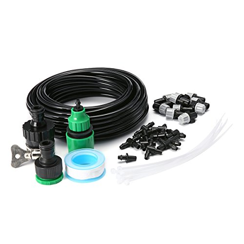 king do way Misting Cooling Irrigation System for Garden Patio Greenhouse Micro Flow Drip Irrigation Kit with 32.8ft Tubing and 10 Misting Nozzles Quick Connector Universal Faucet Nylon Tape