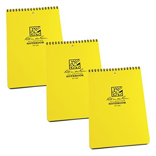 Rite in the Rain 169 All-Weather 6'' x 9'' Top Spiral Universal Notebook, 3-Pack