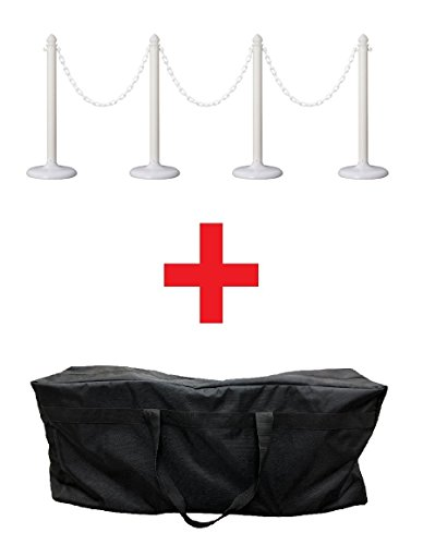PLASTIC STANCHION SET + 32' CHAIN + BAG, 4 PCS w/C-Hook (White+ Bag) -