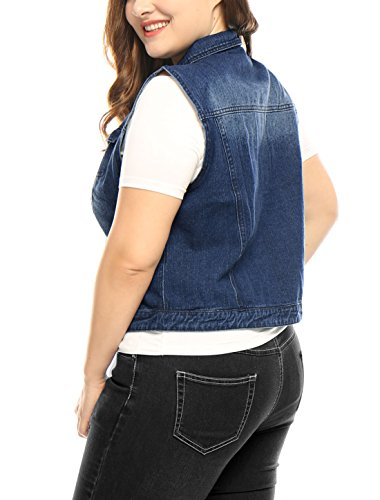 Agnes Orinda Mujer Talla extra bolsillos de pecho único Pecho Chaleco Denim Blue