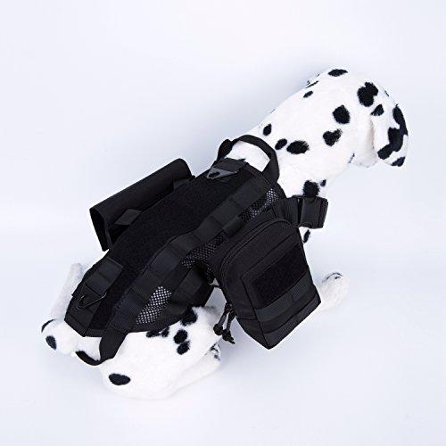 Pettom Tactical Dog Training Molle Vest Suits Harness with Detachable Pouches Black Medium