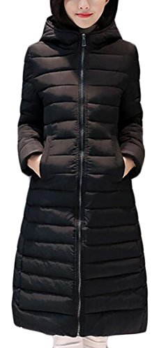 Jacket Color Mid Down Black Solid Womens Sleeve today UK length Long Hooded Lightweight wYC4PZ