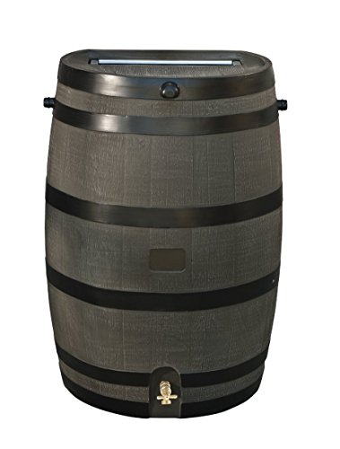 RTS Home Accents 50-Gallon Rain Water Collection Barrel with Brass Spigot, Wood Grain (Wooden Rain Barrel)