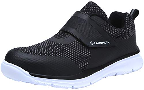 LARNMERN Steel Toe Shoes Women, Womens Safety Shoes Kevlar Anti-Piercing Reflective Strip Magic Tapes Sneakers Light Weight Breathable Work Footwear LM121 (9.5 US, White)