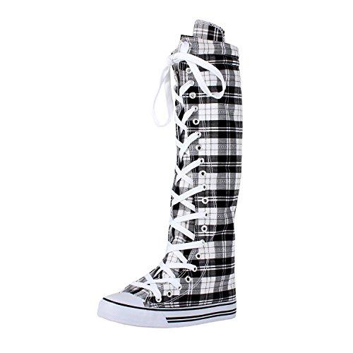 ca2a13b7b5c93e Women s Tall Canvas Lace Up Knee High Sneakers BWPD 11 - Buy Online in  Oman.