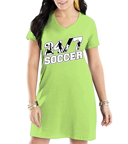 HAASE UNLIMITED Women's 24/7 Soccer V-Neck Nightshirt (Light Green, XX-Large/XXX-Large)