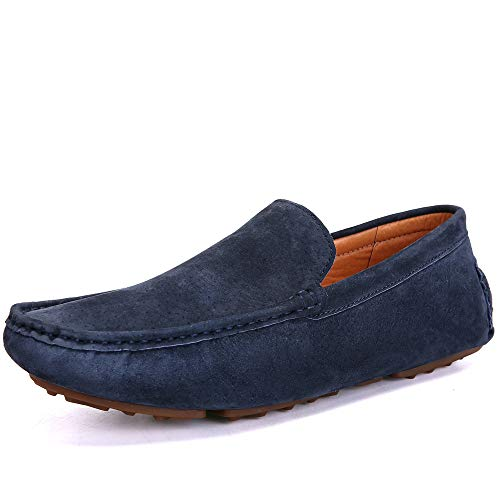 - UNN Mens Loafers Casual Boat Shoes Genuine Leather Slip On Driving Moccasins Hollow Out Breathable Flats (10.5 D(M) US, All Blue)