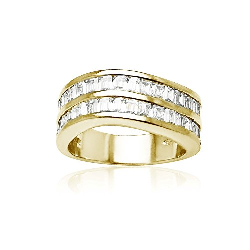 Yellow Gold Flashed Sterling Silver Cubic Zirconia Baguette-cut Curved Channel Set Ring, Size 6 (Gold Ring Baguette Yellow)