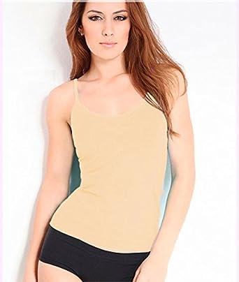 RONDO Womens Seamless Basic Layering Cami Tank Top with Spaghetti Straps Slim Fit White Beige Black