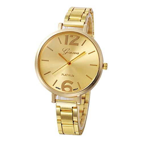 Geneva Stainless Steel Bracelets (Geneva Fashion Women Crystal Stainless Steel Band Analog Quartz Wrist Watch Bracelet Bangle (Gold))