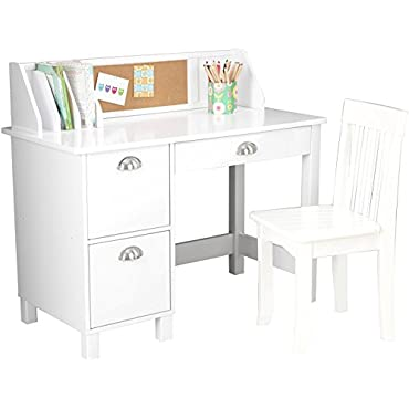 KidKraft Kids Study Desk with Chair, White