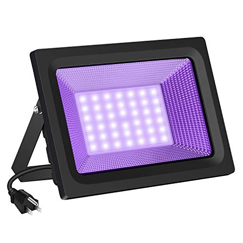 SAYHON UV LED Black Light Flood Light Bulb, 50W Ultra Violet UV LED Flood Light IP66 Waterproof Stage Light for Blacklight Party, Neon Glow, Glow in The Dark, DJ Disco Club, Fishing, Aquarium, Curing