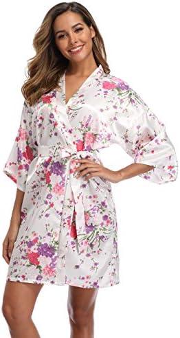 iFigure Women Floral Kimono Robe Satin Bridal Dressing Gown Bride Bridesmaid Robes Sleepwear