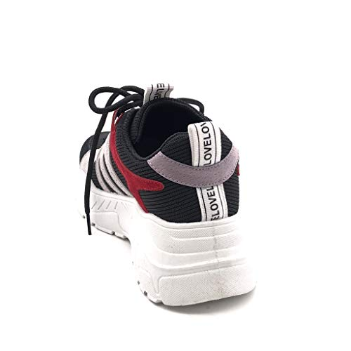 Nero Scarpe Tennis Donna Moda Sneaker 5 Cm Zeppa Block Zeppe Color Tacco Angkorly qOZ7FcyF