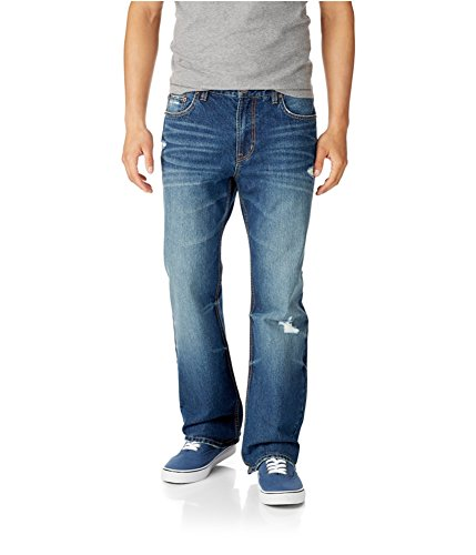Aeropostale Mens Driggs Slim Boot Cut Jeans, Blue, 27W x 28L