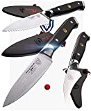DALSTRONG - Shogun Series 3pc Paring Knife Set - Damascus - Japanese AUS-10V Super Steel - 3.75'' Paring - 2.75'' Bird's Beak - 3.5'' Serrated