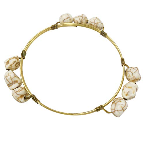 Gypsy Jewels Wrapped Wire Enamel Theme Stackable Thin Simple Bangle Bracelet (3 Ivory Cream Stone)