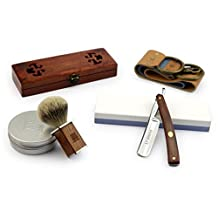 "A.P. Donovan - High quality 7/8 "" Straight Razor Set - with leather strop, shaving brushes, shaving and grinding paste - Mahogany"