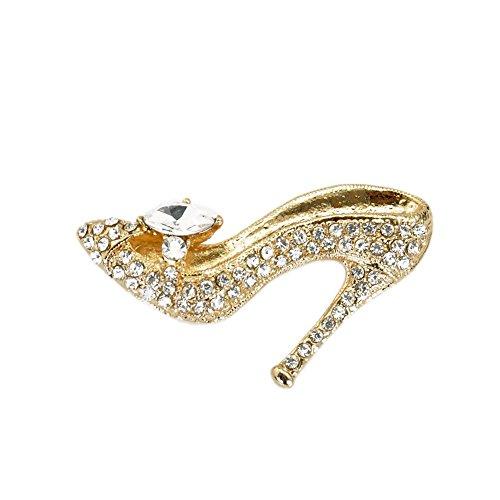 TTjewelry Fashion Style High-Heel Shoe Rhinestone Crystal Brooch Pin (White Gold-Tone) ()