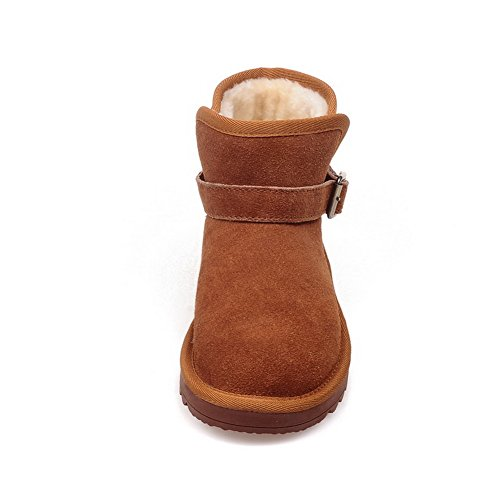 A&N Womens Non-Slipping Sole Buckle Round Toe Microfiber Boots Brown HlFYxyvc