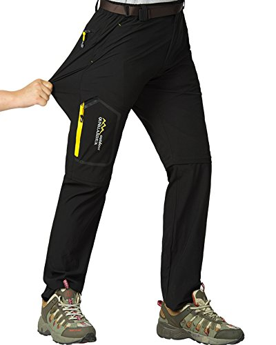 Women's Casual Outdoor Quick Dry Pants Convertible Hiking Camping Fishing Zip Off Durable Trousers #5818-Black, US L 32,New