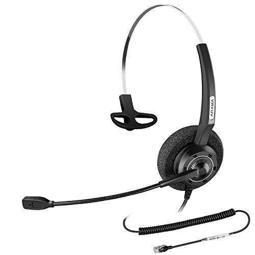 Arama Corded RJ9 Telephone Office Headset with Noise-Cancelling Microphone for Nortel Polycom Plantronics ShoreTel Zultys Toshiba Aspire Dterm Norstar Meridian Siemens Landline Desk Phones (A200S)
