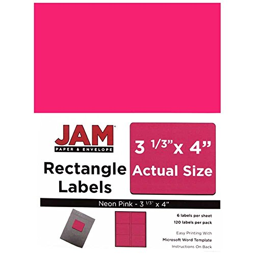 JAM Paper Shipping Address Labels - Large - 3 1/3' x 4' - Neon Fluorescent Pink - 120/pack