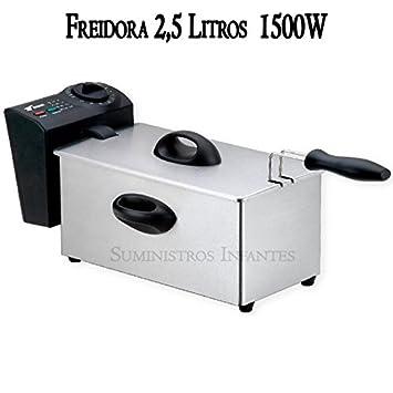 Freidora eléctrica 3 litros. Potencia 1500W. Interior con recubrimiento antiadherente. Capacidad aceite 2