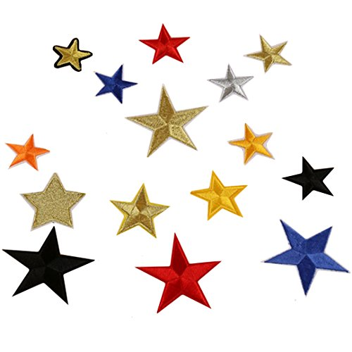 Felice 15 pcs/lot Star Iron-On Or Sew On Embroidered Applique Patch (Mixed Color) ()