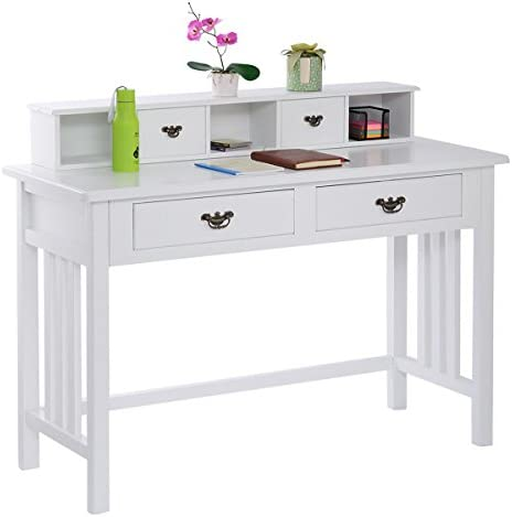 UBRTools Writing Desk Mission White Home Office Computer Desk 4 Drawer White