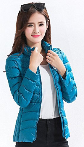 13 Collar Available Color Packable Santimon Stand Lightweight Short Down Jacket Blue Puffer Womens vvxXPzFq