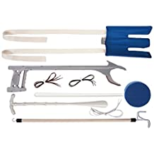 DMI Deluxe Reach Assist Dressing Aid Kit with Sock Aid, Elastic Shoelaces, Dressing Stick, Reacher, Long-Handled Bath Sponge and Shoe Horn, Blue and White