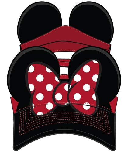 Disney Adult Hat Visor Minnie Bow Red Black (OSFA)