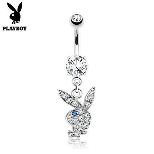 West Coast Jewelry {Clear/Blue} Multi Paved Gems on Playboy Bunny Dangle Surgical Steel Navel Belly Button Ring (Sold Ind.)