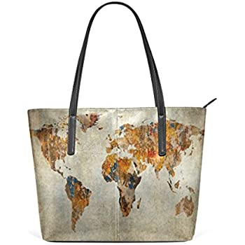 Amazon.com: Vintage World Map Leather Handbags Purses ... on map shoes, map luggage, map boots, map crossbody, map skirt, map phone case, map jacket, map scarf, map white, map trunk, map suitcase, map wallet, map sweater,