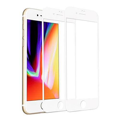 [2 Pack] iPhone 7 Plus 8 Plus Screen Protector, Rheshine iPhone 7 Plus 8 Plus Tempered Glass 3D Touch Layer Scratch-Resistant No-Bubble Glass Screen Protector for iPhone 7 Plus iPhone 8 Plus (White) ()